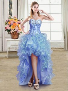 Sumptuous Blue Ball Gowns Sequins Prom Evening Gown Lace Up Organza Sleeveless High Low