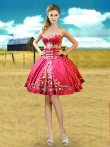 Customized Hot Pink Lace Up Prom Dress Beading and Embroidery Sleeveless Mini Length