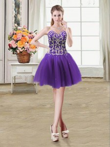 Beading and Sequins Prom Gown Purple Lace Up Sleeveless Mini Length