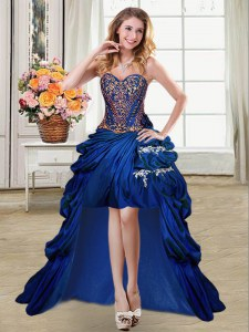 Best Pick Ups Royal Blue Sleeveless Taffeta Lace Up Prom Gown for Prom and Party