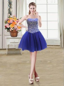 Ball Gowns Dress for Prom Royal Blue Strapless Tulle Sleeveless Mini Length Lace Up