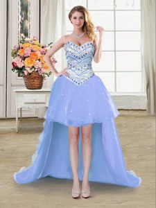 Lavender Sweetheart Lace Up Beading Prom Party Dress Sleeveless