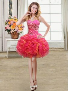 Low Price Multi-color Sweetheart Neckline Beading and Ruffles Homecoming Dress Sleeveless Lace Up