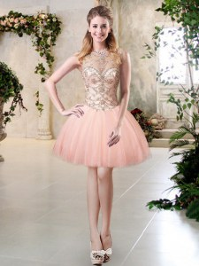 Scoop Sleeveless Tulle Mini Length Lace Up Prom Dress in Peach with Beading
