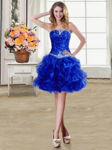 Fantastic Royal Blue Lace Up Strapless Beading and Ruffles Prom Dresses Organza Sleeveless