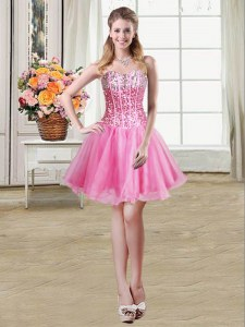 Mini Length Lace Up Dress for Prom Rose Pink for Prom and Party with Sequins