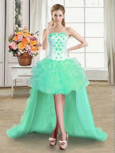 Beauteous Turquoise Sleeveless Tulle Lace Up Evening Dress for Prom and Party