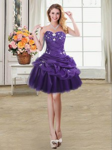 Captivating Purple Ball Gowns Beading and Appliques and Pick Ups Evening Dress Lace Up Organza Sleeveless Mini Length