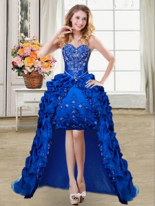 Royal Blue Sweetheart Lace Up Beading and Embroidery and Pick Ups Prom Dresses Sleeveless