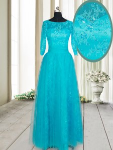 Scoop Teal Empire Beading and Lace and Appliques Prom Party Dress Zipper Tulle Half Sleeves Floor Length