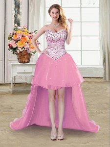 Modern Pink A-line Sweetheart Sleeveless Organza High Low Lace Up Beading Prom Gown