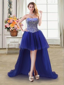 Best Selling Sleeveless Tulle High Low Lace Up Evening Dress in Royal Blue with Beading