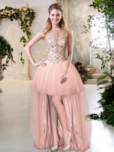 Scoop Sleeveless Tulle High Low Zipper Dress for Prom in Peach with Beading