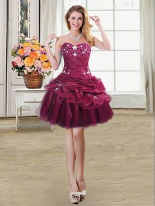 Excellent Pick Ups Mini Length Burgundy Prom Gown Sweetheart Sleeveless Lace Up