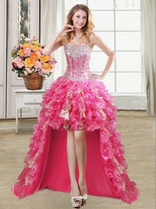 Hot Pink Ball Gowns Beading and Ruffles and Sequins Prom Party Dress Lace Up Organza Sleeveless High Low
