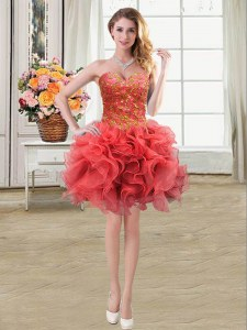 Sweetheart Sleeveless Lace Up Homecoming Dress Coral Red Organza