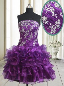 Purple Prom Evening Gown Prom and Party and For with Beading and Ruffled Layers Strapless Sleeveless Lace Up