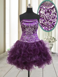 Eye-catching Dark Purple Cocktail Dress Prom and Party and For with Beading and Ruffles Strapless Sleeveless Lace Up