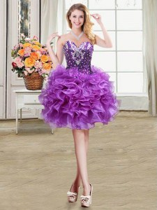 Sweetheart Sleeveless Prom Party Dress Mini Length Beading and Ruffles Eggplant Purple Organza