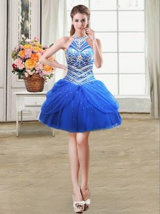 Halter Top Sleeveless Beading and Pick Ups Lace Up Prom Dresses