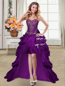 Affordable Sweetheart Sleeveless Taffeta Prom Party Dress Beading and Appliques and Pick Ups Lace Up
