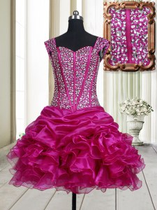 Fuchsia Straps Neckline Beading and Ruffles Prom Evening Gown Sleeveless Lace Up