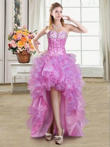 Discount Sequins Ball Gowns Prom Dress Multi-color Sweetheart Organza Sleeveless High Low Lace Up