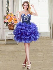 Blue Ball Gowns Organza Sweetheart Sleeveless Beading and Ruffles Mini Length Lace Up Prom Dress