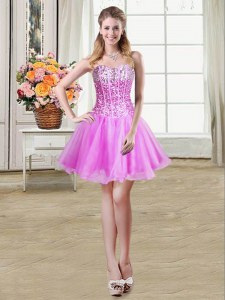 Decent Lilac Ball Gowns Sequins Lace Up Organza Sleeveless Mini Length