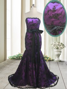 Mermaid Purple Sleeveless Satin and Lace Sweep Train Lace Up Dress for Prom for Prom and Party