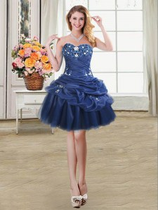 Pick Ups Ball Gowns Evening Dress Navy Blue Sweetheart Organza Sleeveless Mini Length Lace Up