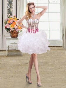 Best Selling White Ball Gowns Beading and Ruffles Evening Dress Lace Up Organza Sleeveless Mini Length