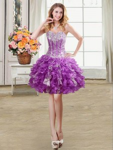 Fabulous Sequins Mini Length Ball Gowns Sleeveless Eggplant Purple Cocktail Dress Lace Up