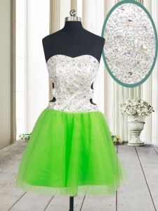 Simple Tulle Sleeveless Mini Length Dress for Prom and Beading and Sequins