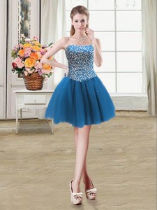 Mini Length Teal Homecoming Dress Tulle Sleeveless Beading
