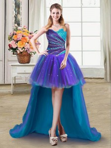 Beautiful Beading and Ruffles Prom Gown Multi-color Lace Up Sleeveless High Low