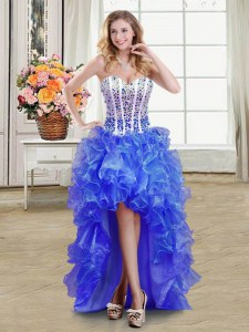 Beautiful Blue Sweetheart Lace Up Beading and Ruffles Homecoming Dress Sleeveless