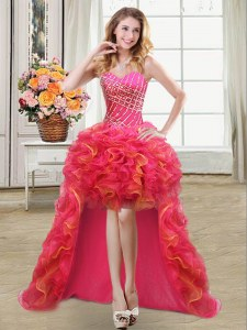 Exquisite Multi-color Lace Up Sweetheart Beading and Ruffles Prom Party Dress Organza Sleeveless