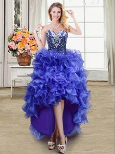 Colorful Sleeveless Organza High Low Lace Up Homecoming Dress in Blue with Ruffles