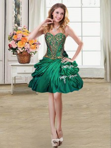 Sexy Pick Ups Mini Length Dark Green Prom Evening Gown Sweetheart Sleeveless Lace Up