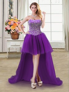 Elegant Sweetheart Sleeveless Tulle Dress for Prom Beading Lace Up