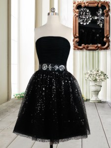 New Arrival Black Sleeveless Beading and Sequins Mini Length Prom Gown
