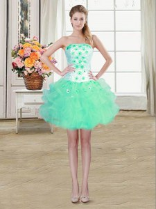Mini Length Turquoise Prom Gown Organza Sleeveless Beading and Appliques and Ruffles