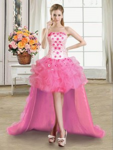 Ball Gowns Prom Gown Rose Pink Strapless Organza Sleeveless High Low Lace Up