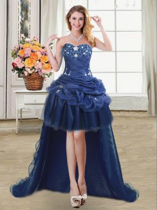 Low Price Beading and Appliques and Pick Ups Prom Evening Gown Navy Blue Lace Up Sleeveless High Low