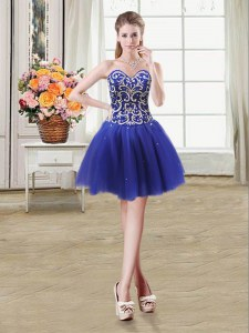 Beauteous Royal Blue Sweetheart Lace Up Beading and Sequins Prom Dress Sleeveless