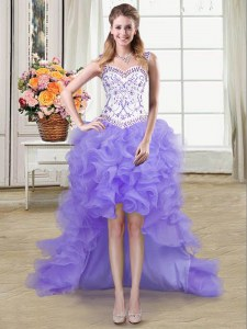Straps Sleeveless Organza High Low Lace Up Prom Gown in Lavender with Beading and Ruffles