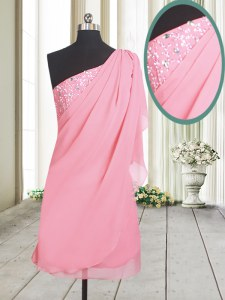 Admirable One Shoulder Sleeveless Prom Dresses Beading Rose Pink Chiffon