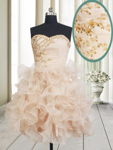 Sleeveless Organza Mini Length Lace Up Cocktail Dress in Champagne with Beading and Ruffles