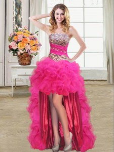 Pretty Hot Pink Sleeveless Beading and Ruffles and Ruffled Layers and Sequins High Low Prom Dress